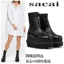 sacai Platform Casual Style Street Style Plain Leather Party Style