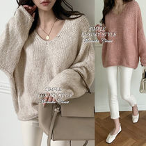 Wool Long Puff Sleeves V-neck & Crew neck