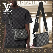 Louis Vuitton DAMIER Gingham Unisex Street Style 2WAY Bi-color Leather Co-ord