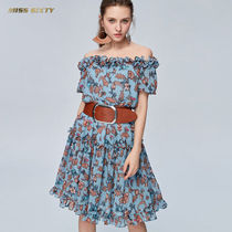 MISS SIXTY Flower Patterns Flared Short Sleeves Party Style
