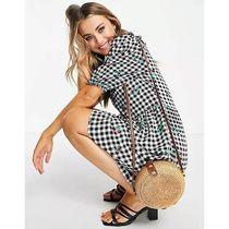 New Look Short Gingham Flower Patterns Casual Style Short Sleeves