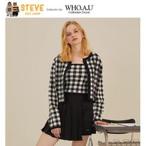 WHO.A.U Gingham Casual Style Collaboration Long Sleeves Plain Medium