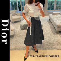 Christian Dior Flared Skirts Casual Style Plain Cotton Elegant Style