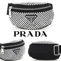 PRADA Casual Style Blended Fabrics Street Style Plain With Jewels