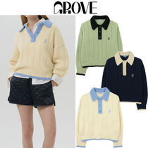 GROVE Casual Style Street Style Long Sleeves Logo