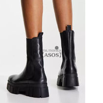 ASOS Platform Round Toe Rubber Sole Casual Style Plain Leather