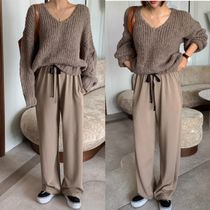 Cable Knit Casual Style Unisex Wool Rib Street Style V-Neck