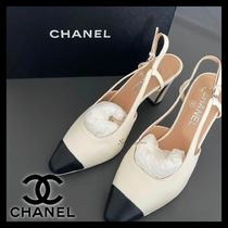 CHANEL Round Toe Casual Style Plain Pin Heels Party Style