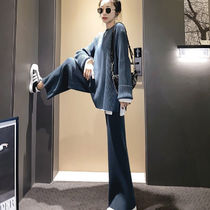 Casual Style Bi-color Plain Cotton Office Style Co-ord