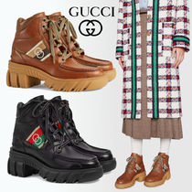 GUCCI Ace Platform Mountain Boots Casual Style Street Style Leather