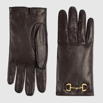 GUCCI Cashmere Leather Leather & Faux Leather Gloves