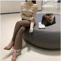 JOY YOU Casual Style Wool Long Sleeves Plain Medium Party Style