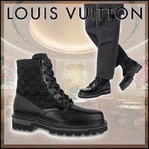 Louis Vuitton DAMIER Gingham Plain Toe Street Style Leather Logo Engineer Boots
