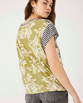 Free People Crew Neck Stripes Flower Patterns Short Sleeves T-Shirts