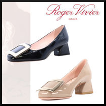 Roger Vivier Square Toe Casual Style Street Style Plain Leather