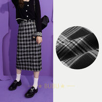 ELF SACK Pencil Skirts Other Plaid Patterns Casual Style Chain Medium