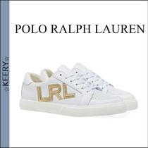 POLO RALPH LAUREN Round Toe Rubber Sole Casual Style Unisex Leather Logo