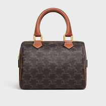 CELINE Triomphe Monogram Casual Style Calfskin Canvas Blended Fabrics 2WAY