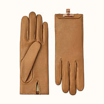 HERMES Kelly Cashmere Plain Leather Logo Leather & Faux Leather Gloves
