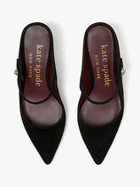 kate spade new york Suede Plain Leather Pin Heels Pointed Toe Pumps & Mules