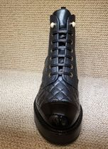 CHANEL Lace-up Casual Style Plain Leather Logo Lace-up Boots