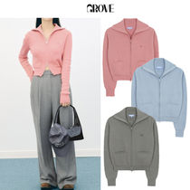 GROVE Casual Style Street Style Long Sleeves Logo Cardigans