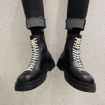 Street Style Plain Leather Engineer Boots