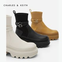 Charles&Keith Platform Rubber Sole Casual Style Faux Fur Elegant Style