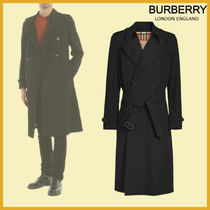 Burberry Other Plaid Patterns Plain Leather Trench Coats