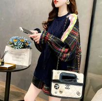 Cable Knit Other Plaid Patterns Long Sleeves Sweaters