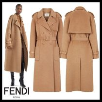 FENDI Casual Style Plain Leather Long Party Style Office Style