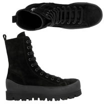 Ann Demeulemeester Straight Tip Suede Plain Leather Military Engineer Boots