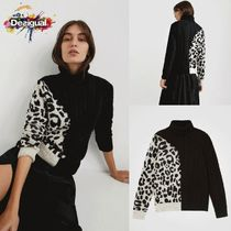 Desigual Leopard Patterns Casual Style Long Sleeves Cotton Medium