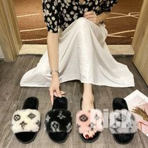 Open Toe Casual Style Faux Fur Slippers Logo Sandals