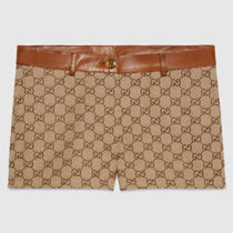 GUCCI GG Supreme Gg canvas shorts with leather trim