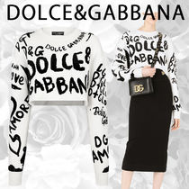 Dolce & Gabbana Cropped sweater with intarsia and flocked dg graffiti