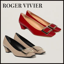 Roger Vivier Square Toe Plain Leather Party Style Office Style