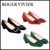 Roger Vivier Square Toe Suede Plain Leather Party Style Office Style
