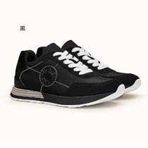HERMES Rubber Sole Leather Elegant Style Logo Low-Top Sneakers