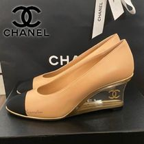 CHANEL Plain Toe Plain Leather Party Style Office Style