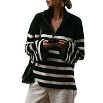 Cable Knit Stripes Casual Style Rib Dolman Sleeves Bi-color