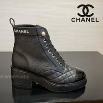 CHANEL Lace-up Plain Leather Block Heels Logo Lace-up Boots