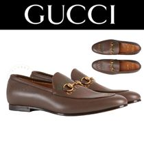 GUCCI Loafers Street Style Plain Leather Handmade Logo