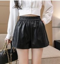Short Casual Style Street Style Plain Leather Formal Style