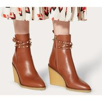 VALENTINO Casual Style Plain Leather Elegant Style Wedge Boots