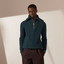 HERMES Cashmere Long Sleeves Plain Luxury Sweaters