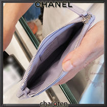 CHANEL TIMELESS CLASSICS Unisex Calfskin Plain Leather Pouches & Cosmetic Bags