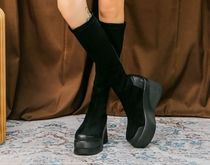 Platform Round Toe Rubber Sole Casual Style Suede Faux Fur