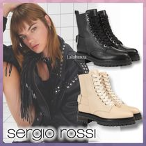 Sergio Rossi Round Toe Lace-up Casual Style Plain Leather Elegant Style