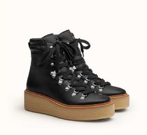 HERMES Platform Mountain Boots Rubber Sole Suede Leather
